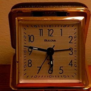 AUTH BULOVA VINTAGE TRAVEL FOLDABLE UNIQUE CLOCK!